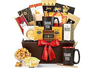 GiftTree Food, Coffee & Snack Gift Basket Includes Ceramic Thank You Mug, Almond Roca, Gourmet Coffee, Candies, Popcorn & Savory Snacks in Keepsake Container | Closing Gifts, Corporate Gifts