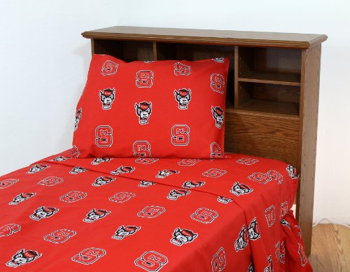 College Covers North Carolina State Wolfpack Printed Solid Sheet Set, Twin X-Large