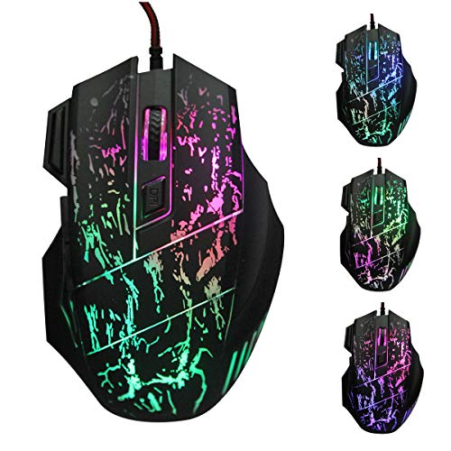 Adjustable 7 Buttons Running River Pattern Optical USB Wired 5500 DPI Woven Nylon Line Pro Gamer Gaming Mouse Mice with Breathing Lights Triple Fire Key for Windows XP Vista Mac (Black)