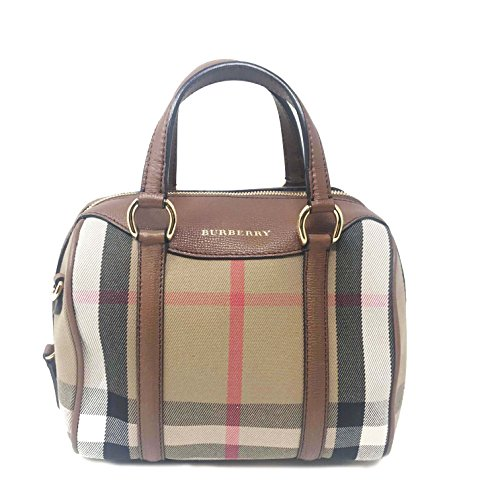 Burberry Women's Small Alchester in House Check and Leather Tan Burberry Purse