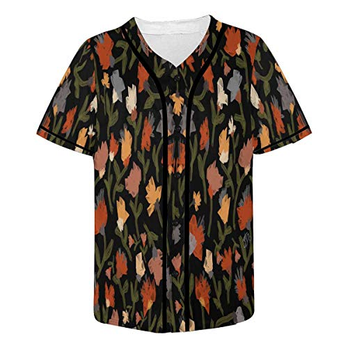 InterestPrint Men's Painterly Abstract of Many Tulips in Spring Garden Baseball Jersey Button Down T Shirts M