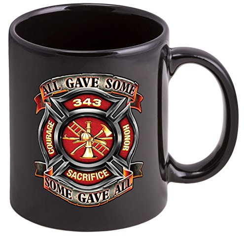Coffee Cup with 343 Badge Logo - Stoneware Mug, Patriotic Gifts for Firefighters