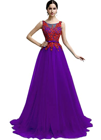 42fa5c75890 Vimans® Plus Size Long Lace Purple Evening Gowns for Teenagers