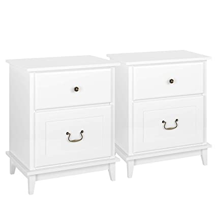 super popular a18f2 fc927 HOMECHO 2 Drawers Nightstand Set of 2 - Bedroom Bedside End Table with 2  Large Drawers and Vintage Brass Alloy Handles White,HMC-MD-006