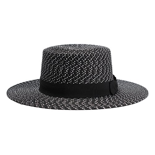 Columbia Top Hat - spring and summer black and white flat-top straw hat men and women Europe and America fashion bow sun hat travel hat,black