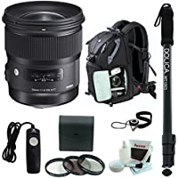 Sigma 24mm f/1.4 Art Lens for Canon w/ Photo Backpack & Monopod Bundle