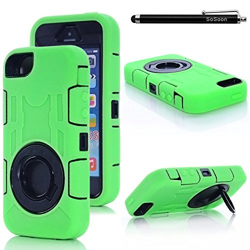Price comparison product image iPhone 5s Case,  SoSoon Tough Armorbox Dual Layer Hybrid Hard / Soft Protective Case with Built-in Screen Protector for Apple iPhone 5,  5s - Green