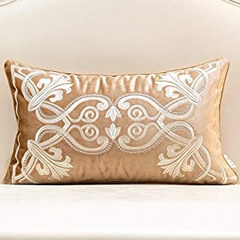 Avigers 12 x 20 Inch European Cushion Covers Luxury Velvet Home Decorative Embroidery Petunias Pillow Cases Pillowcase for Sofa Chair Bedroom Living Room, Beige