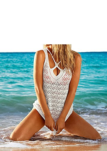 Sexy Criss Cross Bandage Crocheted Bikini Cover Up Backless Beach Dress Summer Beachwear for Honeymoon Vacation (Girls Dress Crocheted)