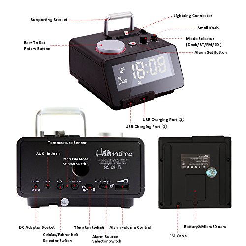Homtime C12-PRO iPhone Docking Alarm Clock Radio with USB, 5 Modes to Play Music, Bluetooth Hands Free Digital Alarm Clock, 4 Level Dimmable, and Personalized Alarm Ring by Homtime (Image #7)
