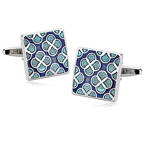 Novelty Mens Stainless Steel Cufflinks Enamel Flower Square Blue Cufflinks 1.6X1.6CM Dad Unique Jewelry Box Fancy Elegant Aooaz
