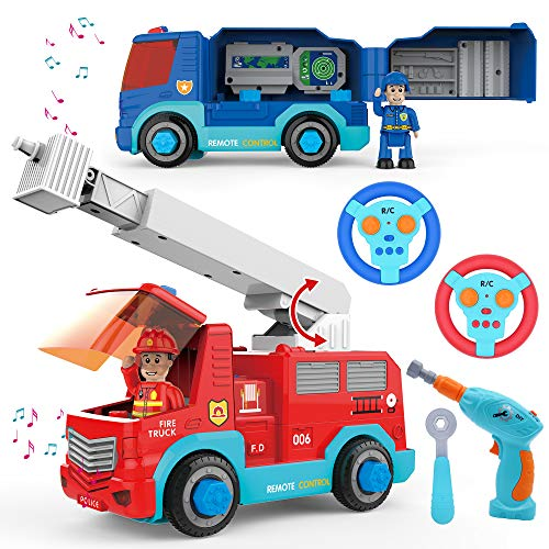 JOYIN Remote Control Take Apart Fire Truck & Police Car with Built-in Lights and Sounds & Drill for Kids STEM Assembly Vehicle Toy City Collection Gift. from JOYIN