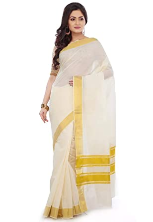 5762e8210c selvamani tex cotton kerala kasavu saree with running blouse …: Amazon.in:  Clothing & Accessories