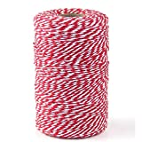 Bakers Twine,1Roll 200M Red and White Cotton Twine Packing String for Gardening, Decoration, Tying Cake and Pastry Boxes, Silverware, DIY Crafts & Gift Wrapping,Art and Crafts (2mm/656Feet)