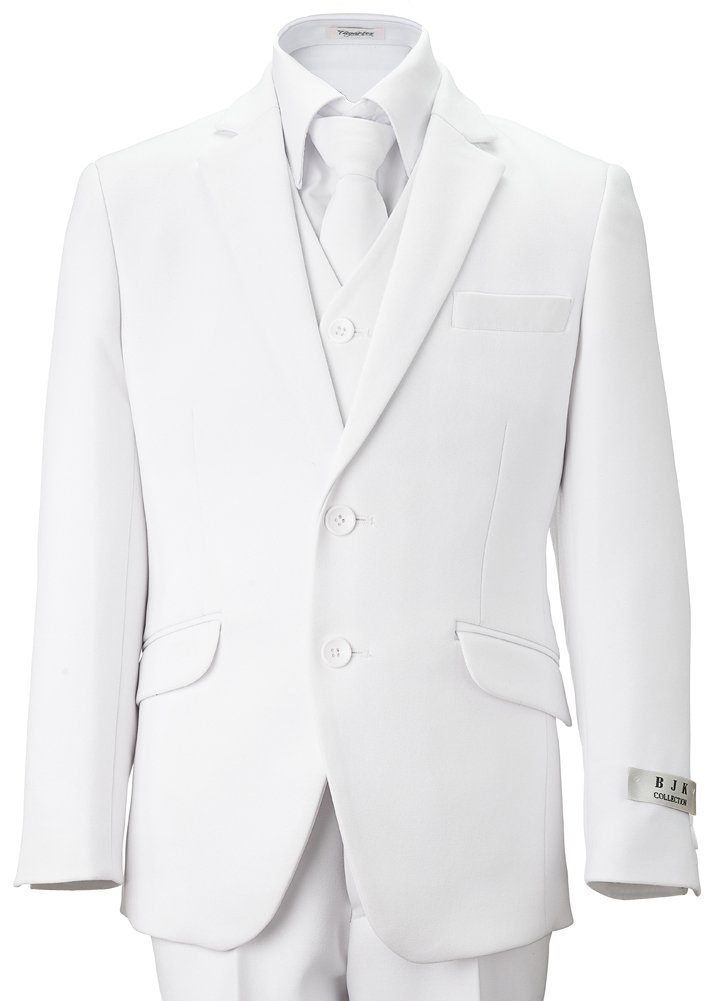 BJK Collection Big Boys' White Communion and Wedding 2 Button Suit 5 Piece 8 White