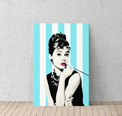Audrey Hepburn Breakfast at Tiffany`s Blue and White Striped Background Canvas Print Decorative Art Modern Wall Décor Artwork Wrapped Wood Stretcher Bars - Ready to Hang - %100 Handmade in the USA (Wall Breakfast Room Decor)