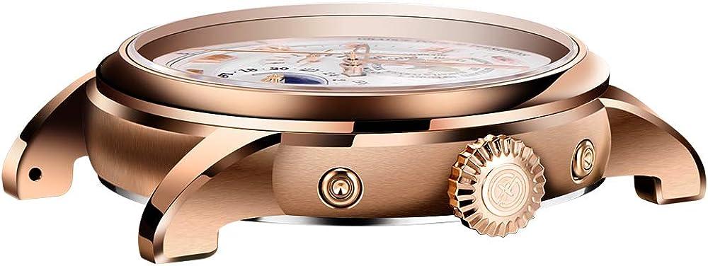 BERSIGAR Montre mécanique Classique pour Homme Montre Automatique étanche Montre mécanique pour Homme avec Bracelet en Cuir et Bracelet décontracté Or