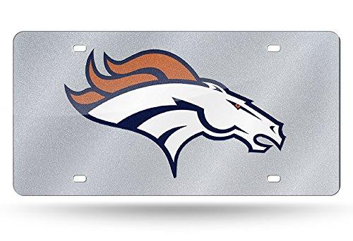 NFL Denver Broncos Bling Laser Cut Auto Tag Plate, 12 x 6-Inch, Silver Denver Broncos Silver Laser