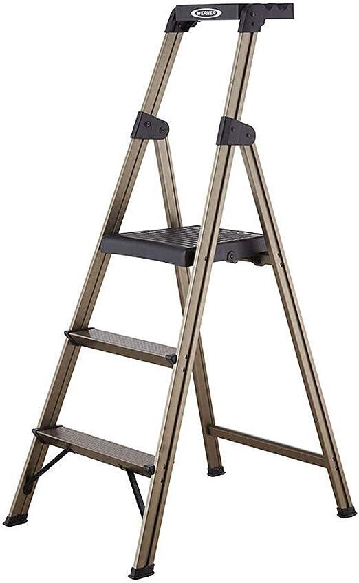 ChenCheng Escalera portátil de aleación de Aluminio Escalera Plegable for el hogar Escalera Estable for el hogar Escalera de Espiga de Aluminio Dorado Elegante con Escalera de Bandeja de Herramientas: Amazon.es: Hogar