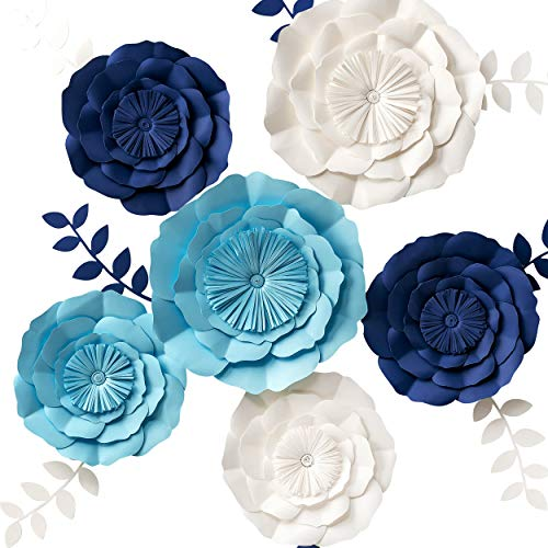 3D Paper Flower Decorations, Giant Paper Flowers, Large Handcrafted Paper Flowers (Navy Blue, Beige, Aqua Blue, Set of 6) for Wedding Backdrop, Bridal Shower, Wedding Centerpieces, Nursery Wall Decor]()