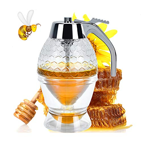 YoleShy Honey Dispenser No Drip Syrup Dispenser Container with Storage