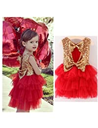 Franterd Kids Sequins Bow Dress Baby Girl Party Gown Bridesmaid Princess Dresses