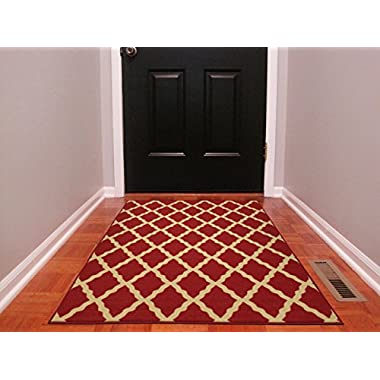 Ottomanson Ottohome Collection Color Contemporary Morrocon Trellis Design Runner Rug with Non-Skid Rubber Backing Lattice, 3'3  x 5'0 , Red