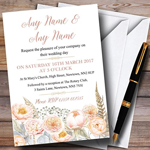 [Coral Pink Peach Peonies Personalized Wedding Invitations] (Wedding Rsvp Personalized Invite)