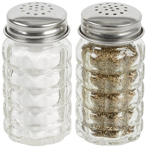Great Credentials Retro Style Salt and Pepper Shakers with Stainless Tops Set of 2 (Table Shaker Style)
