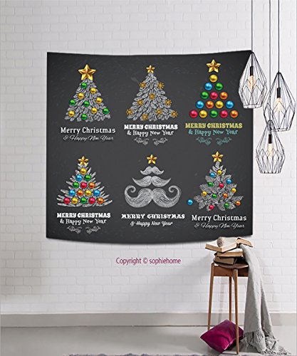 sophiehome Tapestries166027805 Christmas Tree with Balls and Gifts, vector design Chalkboard paint. hanging magical thinking tapestry 39.4W x 39.4L Inches Christmas Tree Is Not Pagan