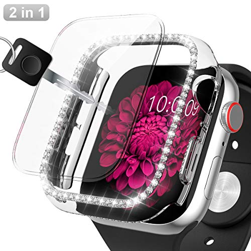 Apple Watch 42mm Hard Diamond Case With Screen Protector,JZK Bling Frame Sparkling Crystal Rhinestone Bumper Full…