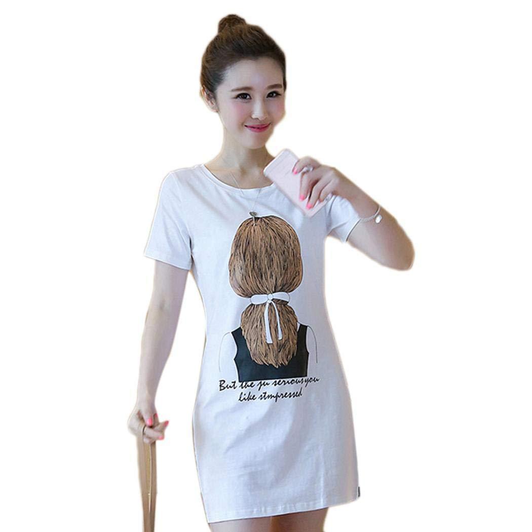 Idomeo Women Casual Slash Neck Off Shoulder Short Sleeve Prints A-Line Pleated Hem Dress