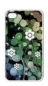 NBcase Absteact Green Flower hard PC iphone 4 case for girls cute