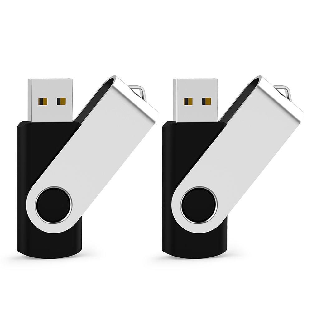 JUANWE 2 Pack 32GB USB Flash Drive USB 2.0 Thumb Drives Jump Drive Fold Storage Memory Stick Swivel Design - Black