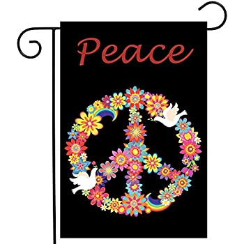 GRAPHICS /& MORE Lady Bug Rainbow Peace Sign Car Truck Flag with Window Clip On Pole Holder