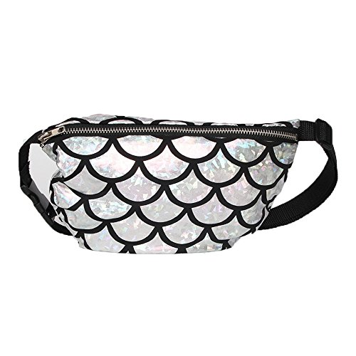 Menglihua Womens Lady Glitter Fanny Evening Party Mermaid Crossbody Pack Waist Bag Silver One Size