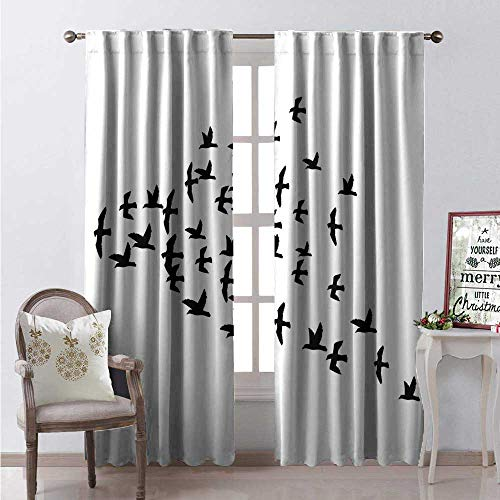 Hengshu Crow Waterproof Window Curtain Birds Gang Teamed Up Flying in The Sky Freedom Winged Animals Tattoo Illustration Decorative Curtains for Living Room W96 x L96 Black and White (Black And White Full Sleeve Tattoo Designs)