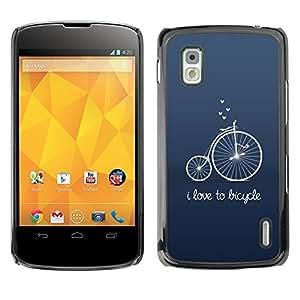 TopCaseStore / la caja del caucho duro de la cubierta de protección de la piel - Old Unic Blue Text Hipster - LG Google Nexus 4 E960