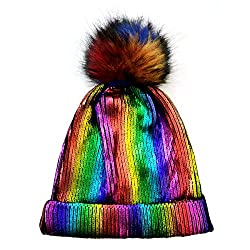 Rainbow-C Sequin Beanie Hat with Faux Fur