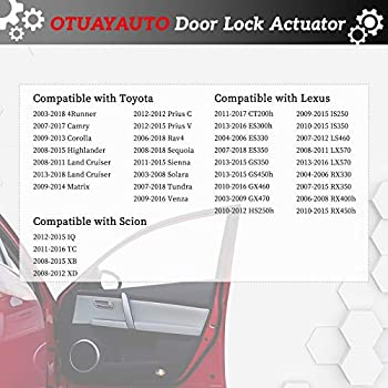 Lexus ES350 RX350 Replace OEM: 69030-06200 Front Right Passenger Side Door Latch OTUAYAUTO Door Lock Actuator Scion XB TC for Toyota Camry Corolla 4Runner Tundra