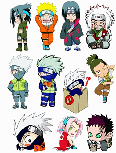 Narutos Cartoon Luggage Case Lockers Mirrors Vinyl Car Stickers in one A5 Page Code F0002