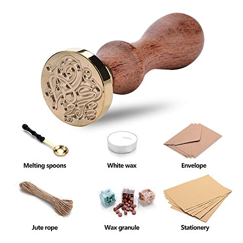 Perrrfect Manuscript Retro Wax Seal Set(Stamp Sticks+Melting Spoons+ 3color Wax granule+ Jute Rope+ Envelope+ Stationery) (FOR YOU)