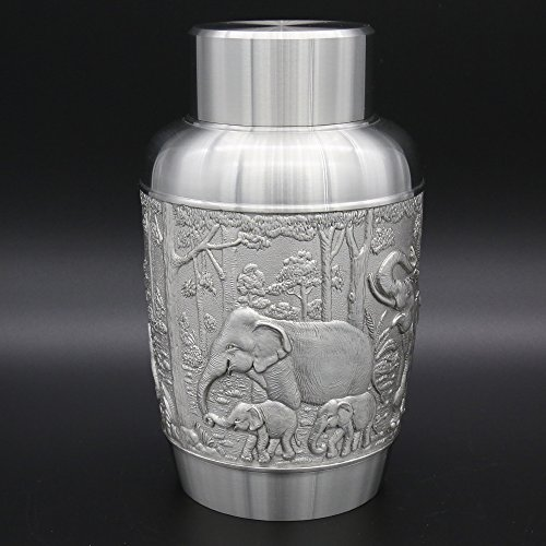 Oriental Pewter Pewter Tea Storage, Caddy - Hand Carved Beautiful Embossed Pure Tin 97% Lead-Free Pewter Handmade in Thailand by Oriental Pewter