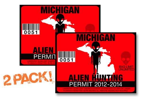 Michigan-ALIEN HUNTING PERMIT LICENSE TAG DECAL TRUCK POLARIS RZR JEEP WRANGLER STICKER 2-PACK!-MI