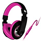 Urban Beatz Rubberized Tempo Headphone with In-Line Mic and Remote - Black/Pink - UB-HM802-101