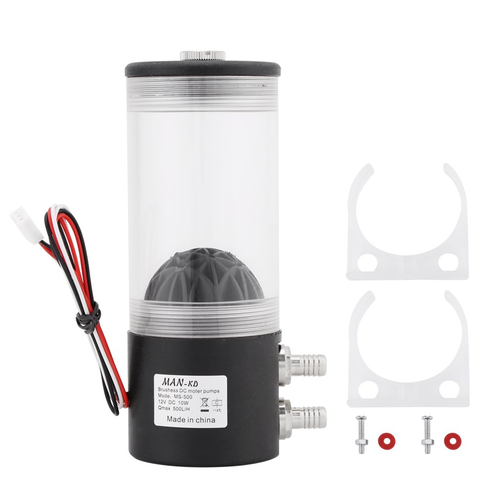 500L/H 10W DC 12V CPU CO2 Water Cooler Cooling Pump Tank Heat Exchanger Mute 60 × 160 mm