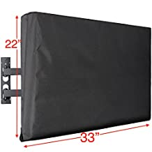"""Kuzy - TV Cover 32"""", Display Weatherproof Outdoor TV Cover Protector for Flat Screen up to 32-inch - Fits Most TV Mounts, LCD, LED, Plasma Screens, Made in USA - BLACK"""