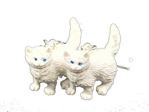 Pendientes gatos gato persa blanco Miniblings goma Gato de pelo largo: Amazon.es: Joyería