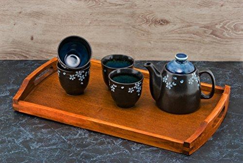 Japanese Cherry Blossom Sakura Black Tea Set Ceramic 16 fl oz Teapot with Rattan Handle and 4 Tea Cups