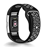 Band for Fitbit Charge 2 Heart Rate, Replacement Fitness Accessory Wristband (Z04-Black,Gray, Small)
